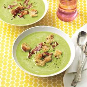Spring Pea Soup with Frizzled HamRecipe