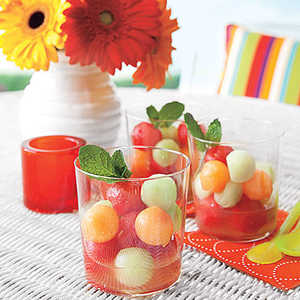 Melon Ball Salad with Lime Syrup Recipe