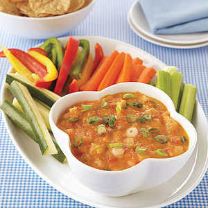 Cheddar Fondue with Green Chiles, Tomatoes and Scallions Recipe