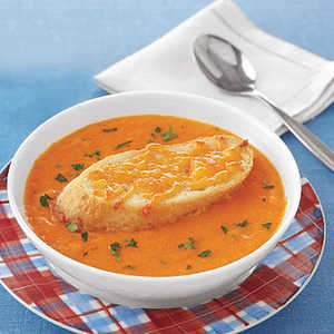 Tomato Soup with Cheddar Croutons Recipe