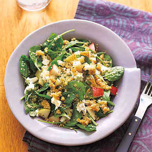 Whole-Wheat Couscous with Spinach and PearsRecipe