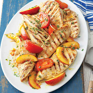 Grilled Chicken with Curried PeachesRecipe