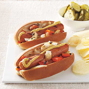 Sausages with Peppers and Onions