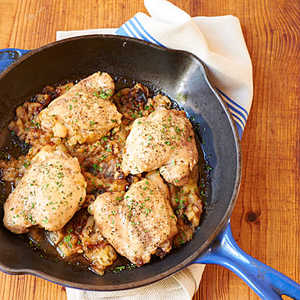 <p>Chicken Thighs with Roasted Apples and Garlic</p>