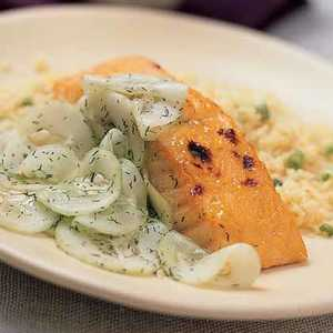 Broiled Salmon with Sweet-and-Sour CucumbersRecipe