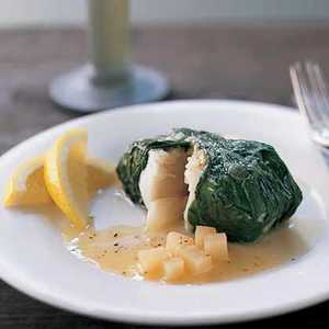 Halibut Wrapped in Greens Recipe
