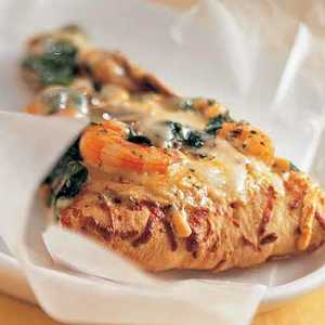 Shrimp, Spinach, and Basil Pizza BiancaRecipe
