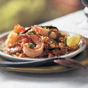 Spicy Paella with Chile, Lime, and CilantroRecipe