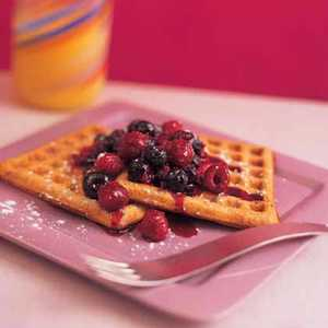 Waffles with Two-Berry SyrupRecipe