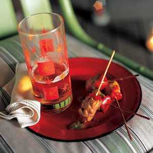 Spiced Pork-and-Red Pepper Skewers with Meteoric Mango SauceRecipe