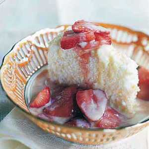 Almond Angel Food Cake with Crème Anglaise and Macerated StrawberriesRecipe