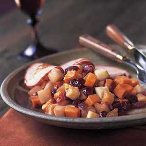 Roasted Turnips, Sweet Potatoes, Apples, and Dried CranberriesRecipe
