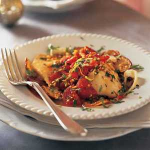 Baked Fish with Roasted Potatoes, Tomatoes, and Salmoriglio SauceRecipe