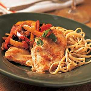 Chicken Breast Fillets with Red and Yellow PeppersRecipe