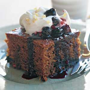 Gingerbread Cake with Blueberry SauceRecipe