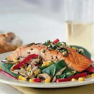 Sizzling Salmon-and-Spinach Salad with Soy VinaigretteRecipe