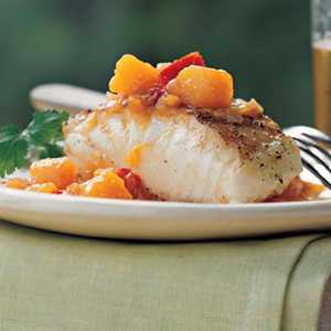 Grilled Striped Bass with Chunky Mango-Ginger SauceRecipe