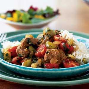 Tangy Pork with Tomatillos, Tomatoes, and CilantroRecipe