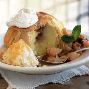 Apples Baked in Phyllo with Pear-and-Pecan FillingRecipe