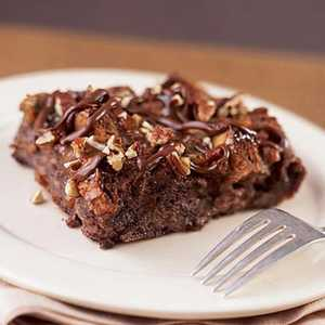 Warm Chocolate Bread Pudding with Turtle ToppingRecipe