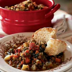 Lentil Stew with Ham and GreensRecipe