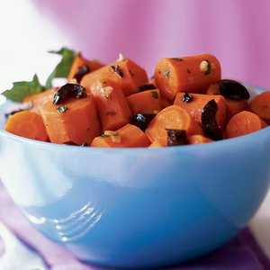 Spiced Braised Carrots with Olives and MintRecipe