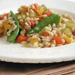 Barley Pilaf with Roasted Peppers and Snow PeasRecipe