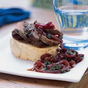London Broil with Texas Toast and Red Onion Jam Recipe