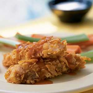 <p>Buffalo-Style Catfish Strips with Ranch Dressing</p>