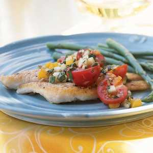 <p>Pan-Fried Sole with Cucumber and Tomato Salsa</p>