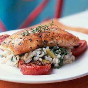 Crispy Salmon with Risotto and Slow-Roasted TomatoesRecipe
