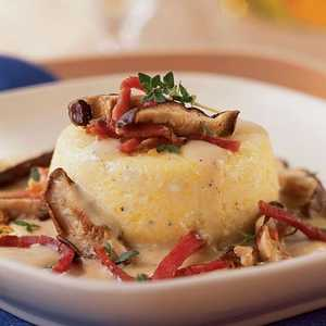 Baked Grits with Country Ham, Wild Mushrooms, Fresh Thyme, and ParmesanRecipe