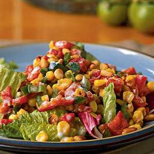 Greens with Roasted Corn and Pepper SaladRecipe