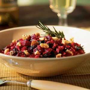 Beet Risotto with Greens, Goat Cheese, and WalnutsRecipe