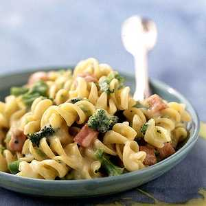 Rotini and Cheese with Broccoli and Ham Recipe
