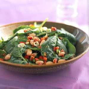 Spinach, White Bean, and Bacon Salad with Maple-Mustard DressingRecipe
