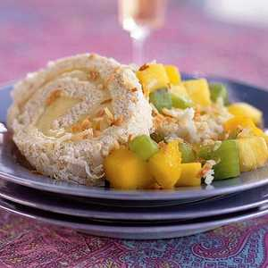 Five-Spice Toasted-Coconut Cake Roll with Tropical Fruit CompoteRecipe