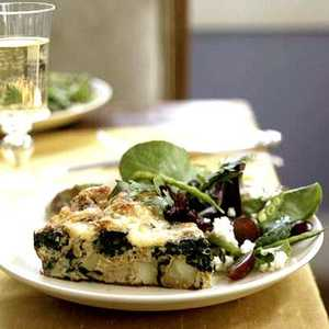 Frittata with Spinach, Potatoes, and Leeks Recipe