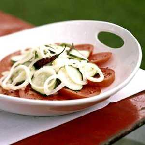 Sweet-Spicy Cucumbers over TomatoesRecipe