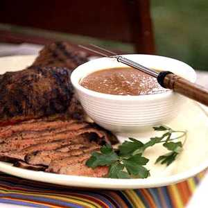 Spice-Rubbed Flank Steak with Spicy Peach-Bourbon SauceRecipe