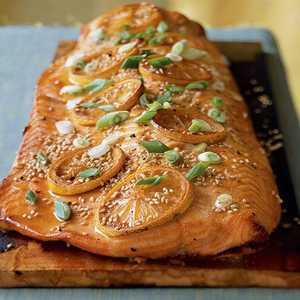 Alder-Planked Salmon in an Asian-Style Marinade Recipe