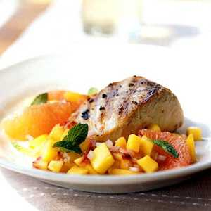 Grilled Mahimahi with Peach and Pink Grapefruit RelishRecipe