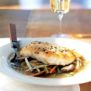 Striped Bass Fillet with Lobster Stock and Aromatic VegetablesRecipe