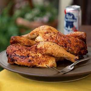 Beer-Can Chicken with Cola Barbecue SauceRecipe