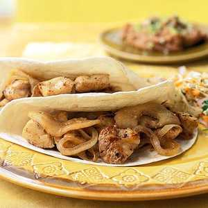 Chicken Soft Tacos with Sautéed Onions and ApplesRecipe