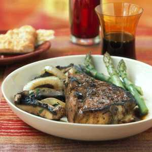 Veal Chops with Sage-Balsamic Sauce and Warm Mushroom SaladRecipe