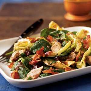 Warm Turkey and Spinach Salad with Crispy Pancetta and Cranberry Vinaigrette Recipe