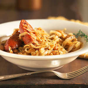 Mustard-Spiced Cabbage and Cannellini Beans with SausageRecipe