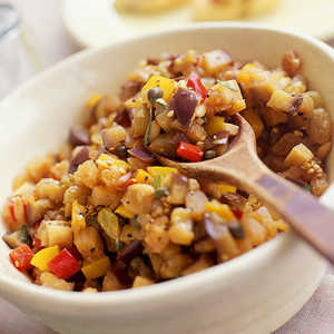 Sesame-Eggplant Salad with Bell Peppers and JicamaRecipe