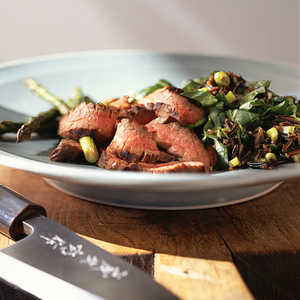 Oriental Flank Steak with Asparagus and Wild-Rice PilafRecipe